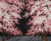 Night Sakura Cherry Blossom Motif Furoshiki Japanese Fabric w/Free Insured Shipping