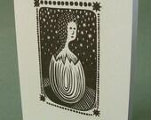 5 x 7 Notecard - A023 EGGLING CHILD // linocut card / new beginning / baby shower / nursery art / transformation / black and white art