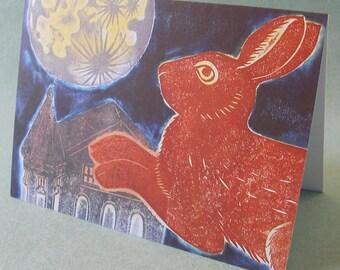 5 x 7 Notecard - A020 RABBIT to the MOON // rabbit card / rabbit print / rabbit art / animal card / moon card / moon art / bunny