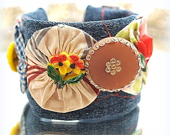 Denim Flower Fabric Cuff Bracelet One-of-a-Kind Fabric  Flower Mixed Media Hand Sewn Wearable Art