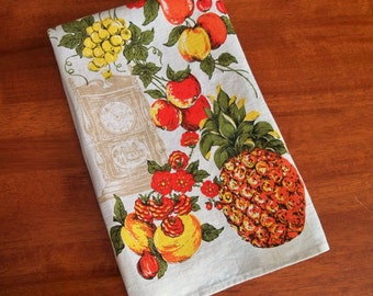 Vintage Linen Tea Towel - Mixed Fruit and Flowers in Sunny Colors