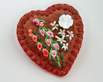 Felt Heart Brooch or Pin - Hand Embroidered Flowers and Vintage Button