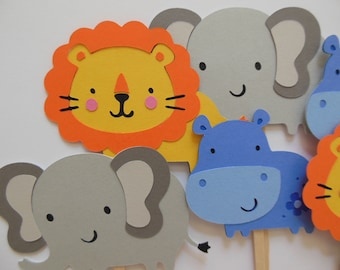 Zoo Animal Cupcake Toppers - Elephants, Lions and Hipppos - Birthday Decorations - Gender Neutral - Baby Showers - Zoo Animals - Set of 6