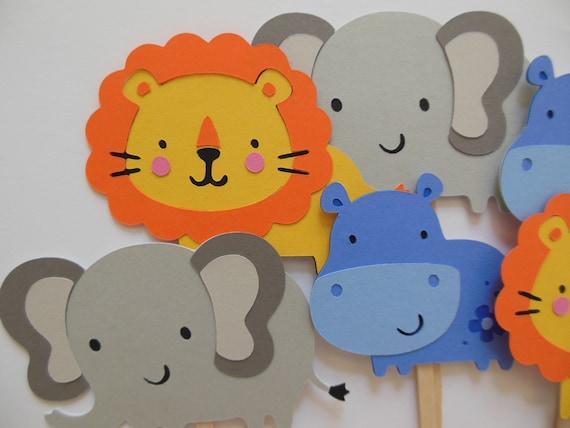 hnliche artikel wie zoo tier cupcake toppers elefanten l wen und hipppos geburtstag. Black Bedroom Furniture Sets. Home Design Ideas