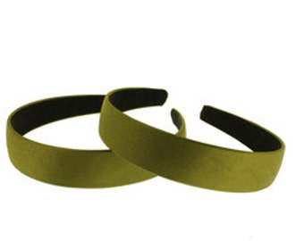 """2 pieces-25mm (1"""") Satin Covered Headband in WILLOW"""