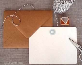 Custom Letterpress Note Cards - Set of 50 w/Kraft Envelopes - Monogram Design