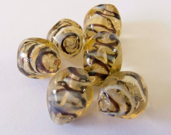 Vintage Beads Gold Glow Black and White Stripe Nugget Lampwork Glass Beads -  Lot of 6