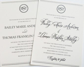 Wedding Invitation with Monogram - Classy Wedding Invitation