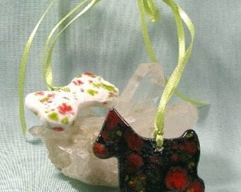 Festive Dog and Bone Two Part Ceramic Ornament