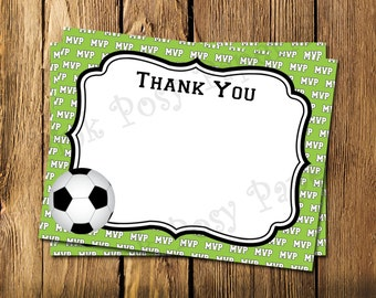 Printable Soccer Flat Thank You Note Cards - Instant Download