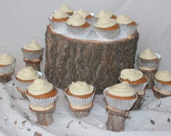 Individual Cupcake Stands- set of 24- rustic wedding decor, bridal shower, baby shower, outdoor wedding, outdoor party, tea party