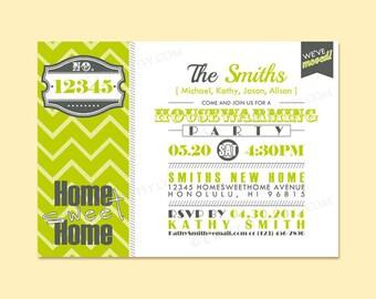 Custom Modern Retro Moving Announcement / Housewarming Invite Invitation Printable Digital Design - Typography / We've Moved / Zig Zag