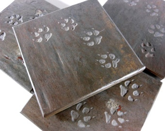 Stone Coasters - Puppy Paws Coasters - 4 Etched Slate Coasters - Dog Coasters, Veterenarian Gift, Dog Paw Prints Dog Lover Pet Passing Gift,