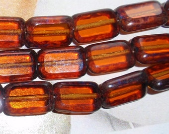 Topaz Picasso Czech 12/8mm Rectangle Table Cut Beads-4