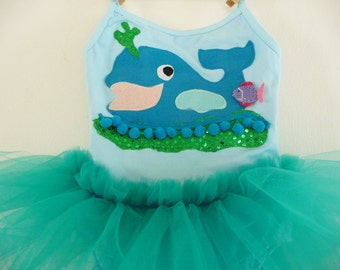 BLUE WHALE TUTU - Under The Sea Party Tutu  - Whale Leotard - Fish Tutu - Whale Tutu - Fish dress - Whale Dress - Personalized -