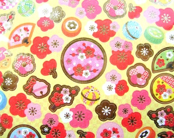 Japanese Washi Stickers  Plum Blossoms Temari Balls Traditional Japanese (S160)