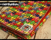 RockerByeBasics Baby or Toddler Blanket puzzle pieces with red flannel boys girls unisex 36x42