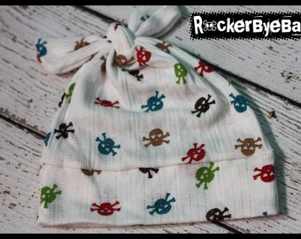 RockerByeBeanies Newborn Baby girl or boy knit skull and crossbones cap hat beanie jewel tone skulls green red teal