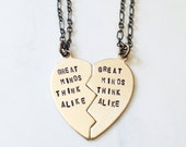 BFF Necklaces - Best Friends Heart Set for Two - Great Minds Think Alike - Hand Hammered Gold Brass Best Friends Sisters Gift Necklaces