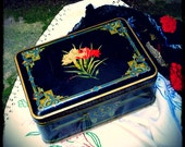 French Vintage Tin Box biscuit tin sewing box jewelry box