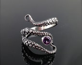 READY TO SHIP! WIcked Tentacle Ring with Amethyst, Wedding Band, Engagement Ring, Occasion