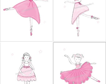 Ballerina Art, Girl Dancer Ballet Art Prints for Girls Pink Ballerina Art for Bedding Wall Decor