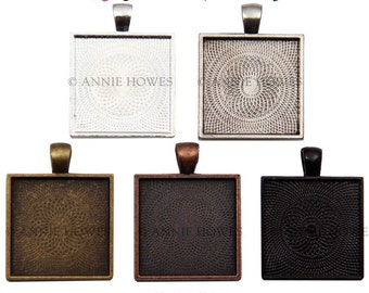 "25mm Square Bezel Pendant Tray Setting with Textured Back. 25mm or 1"". Silver, Copper, and Gold Options. 25 Pack."