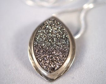 Marquise Silver Titanium Druzy necklace - One of a Kind