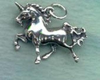 Prancing Unicorn Horse Totem Jewelry Charm Sterling  Fan034