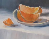 Original oil painting, ORANGE SLICES, still life painting, daily painting 8 x 10 inch