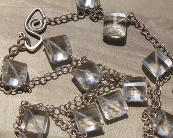Glamour Gem Rock Crystal Quartz Drop Necklace