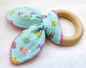 Natural Wooden Teether with Crinkles - Mini Tropical Fish on Aqua - New Baby Gift - Natural Teething
