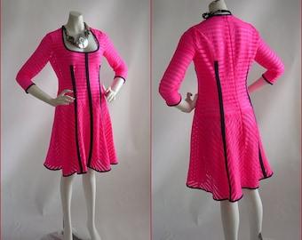 Nanette LEPORE Spandex Dress / NEON Shock Pink Stretch Sheer /  Designer 90s era / size Range 6 8 10 USA