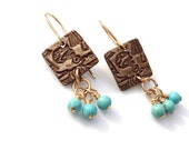 Calavera square earrings with turquoise dangles