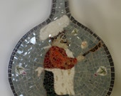 bread board pizza board kitchen wall hanging contemporary mosaic art broken china stained glass