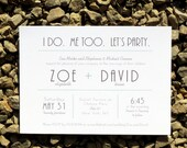 Wedding Invitations Modern Typography Wedding - Deposit