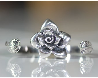 Sterling Silver 2 fingers adjustable Ring ~The Rose Flower~
