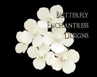 Ivory Hair Flowers, Bridal Hair Accessories, Beach Wedding, Bridesmaid Gift - 6 Ivory Adora Hydrangea Hair Pins - Pearl Centers