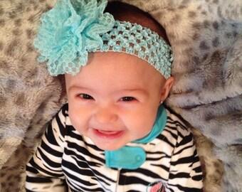 Headband for Girls - Lace Flower Head bands Light Aqua Blue crochet waffle elastic head band for girls LARGE Flower 3 inch newborn baby soft
