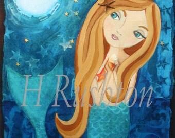 Mermaid Wishes- Children's Art- Mermaid Decor- Mermaid Wall Art -Blonde Mermaid-  Print Sizes 5x7 or 8x10 by HRushton