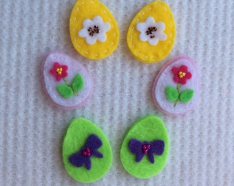 Six Felt Pastel Easter Eggs