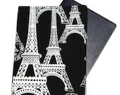 Travel Passport Cover Holder - Black and White Paris Eiffel Tower