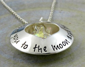 I Love You To The Moon and Back Necklace, Personalized Mothers Necklace, Mom Necklace, Locket Necklace, Crystal Moon, Hand Stamped Jewelry