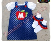 Girl Back To School Clothing Dress Outfit APPLE SIZE 2t 3t 4t 5t 6 7 8 t 24 MONTH Red Top Pageant 1st day of Kindergarten Preschool Cute Set