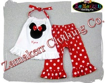 Custom Boutique Girl Minnie Mouse Outfit Set Red Polka Dot Pant Set Top Ruffle Set Size 3 6 9 12 18 24 month 2t 2 3t 3 4t 4 5t 5 6 7 8