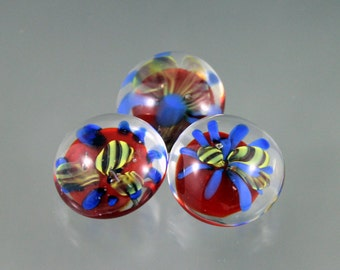 BUTTONS, red black blue yellow buttons, lampwork buttons, implosion buttons, set of buttons, artisan crafted buttons, shank buttons