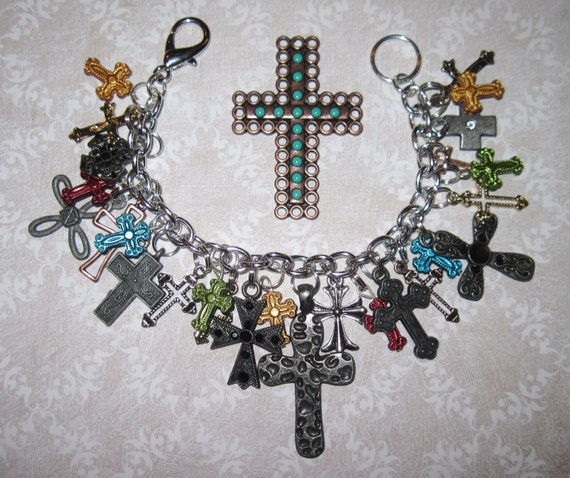 Cross Charm Bracelet Religious Jewelry Loaded w/Various Style Crosses Eclectic Statement Piece OOAK Accessory