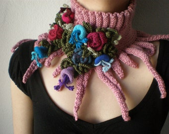Elan ... knitted scarflette  - dusted rose pink neck warmer with purple, blue, red, pink  colorful crochet flowers