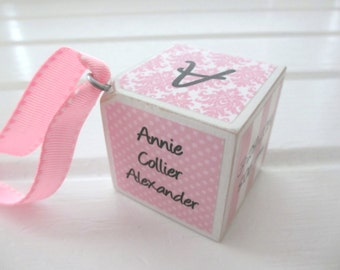 Personalized Baby Block Ornament - Birth Announcement/Keepsake