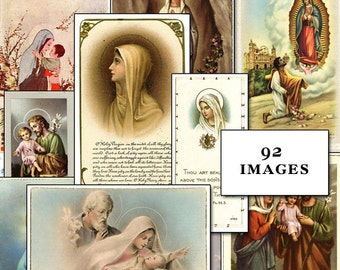 90 Antique Catholic Prayer Cards and Holy Images Collection